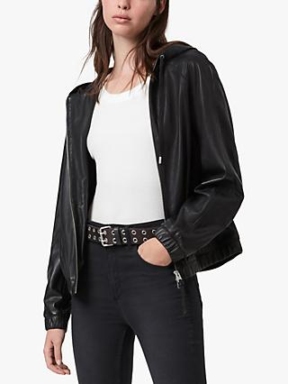AllSaints Penton Leather Hoodie, Black