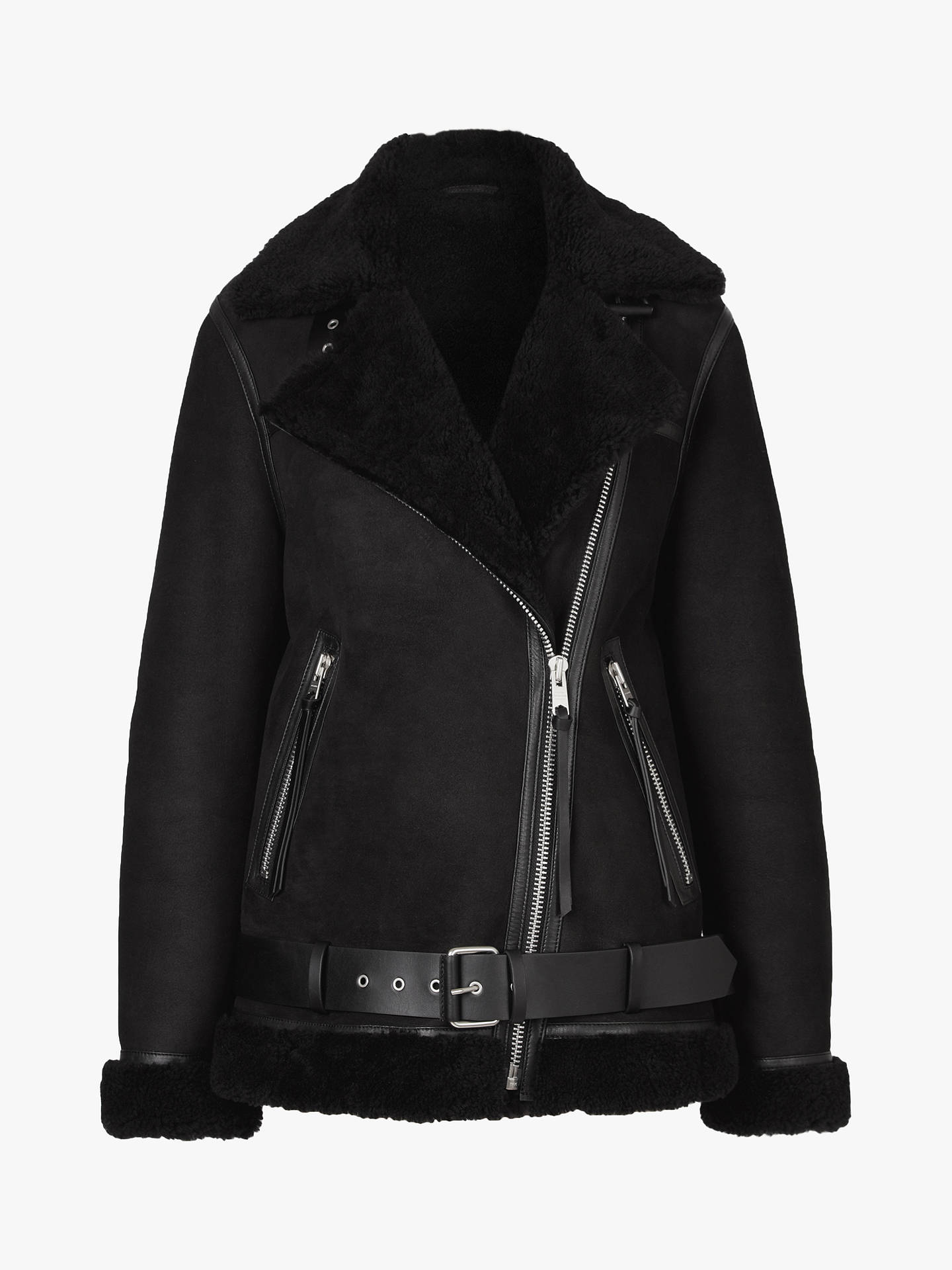 Buy AllSaints Rei Shearling Jacket, Black, XS Online at johnlewis.com