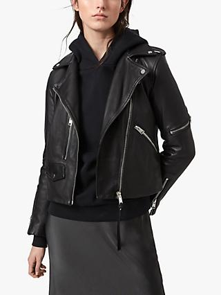 AllSaints Darnley Leather Biker Jacket, Black