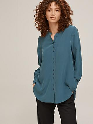 Modern Rarity Collarless Silk Shirt
