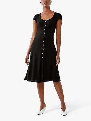 Ghost Leona Button Knee Length Dress, Black