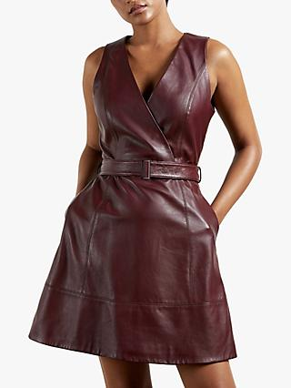 Ted Baker Palmara Leather Dress, Wine