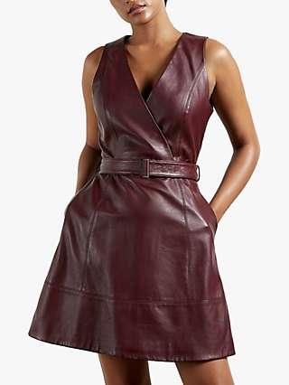 Ted Baker Palmara Leather Dress, Wine