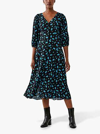 Ghost Ava Floral Midi Dress, Bouquet/Black/Turquoise