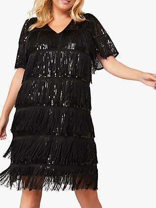 Studio 8 Farina Sequin Fringe Dress, Black