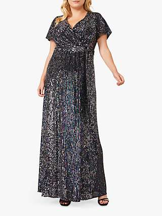 Studio 8 Amily Sequin Embellished Maxi Wrap Dress, Charcoal