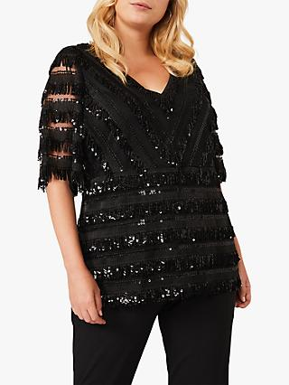 Studio 8 Carol Sequin Fringe Detail Top, Black
