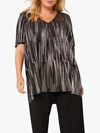Studio 8 Jaxon Metallic V-Neck Top, Black/Gold