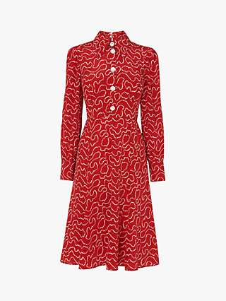 L.K.Bennett Mathilde Silk Tea Dress, Red