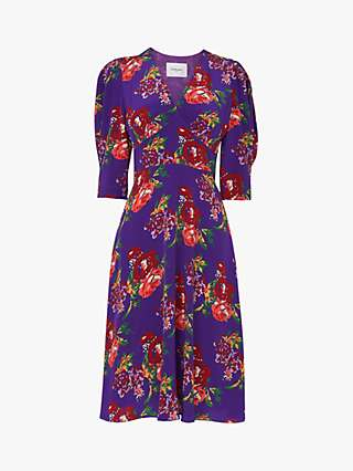 L.K.Bennett Paradis Floral Print Silk Dress, Purple