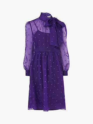 L.K.Bennett Depp Silk Organza Dress, Purple