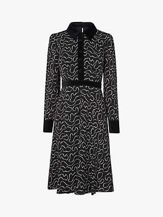 L.K.Bennett Anais Pearl Print Tea Dress, Black/Cream