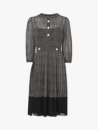 L.K.Bennett Lyra Check Dress, Black/Cream
