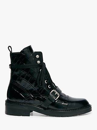 AllSaints Donita Leather Croc Ankle Boots, Black