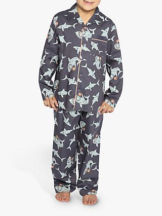 Cyberjammies Kids' Thomas Shark Print Pyjamas, Charcoal Grey