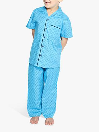 Cyberjammies Kids' Elliot Paisley Print Pyjamas, Bright Blue