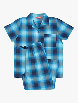 Cyberjammies Kids' Elliot Check Print Pyjamas, Blue