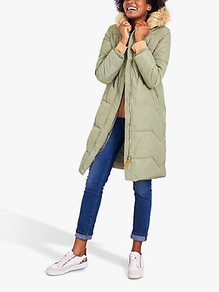 White Stuff Sidmouth Padded Longline Coat, Light Green