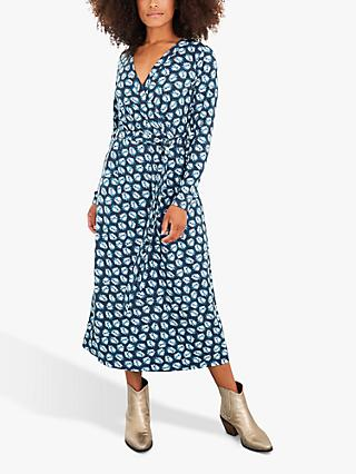 White Stuff Felicity Floral Wrap Maxi Dress, Navy/Multi