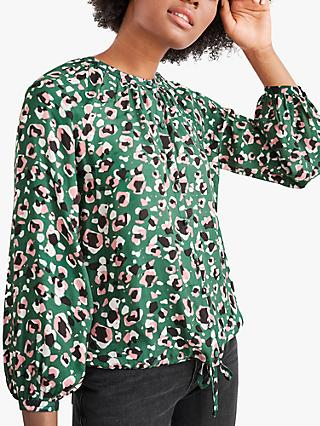 White Stuff Dahlia Abstract Print Blouse, Green/Multi