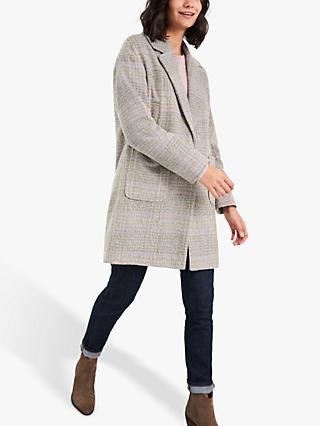 White Stuff Cocoon Check Coat, Neutral