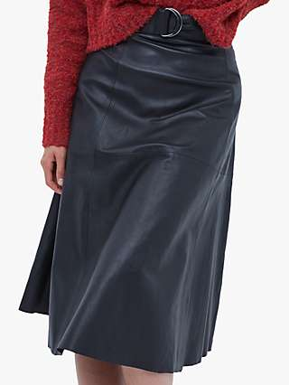 French Connection Arlan Leather Midi Skirt