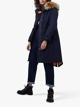 French Connection Carmen Faux Fur Parka Coat, Utility Blue/Tangerine Dream