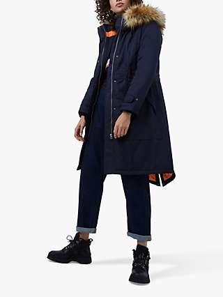 French Connection Carmen Faux Fur Parka Coat, Utility Blue/Tangerine Dream