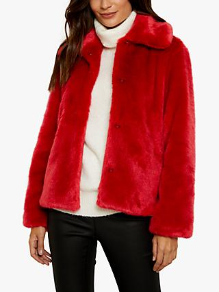 Sosandar Faux Fur Coat, Red