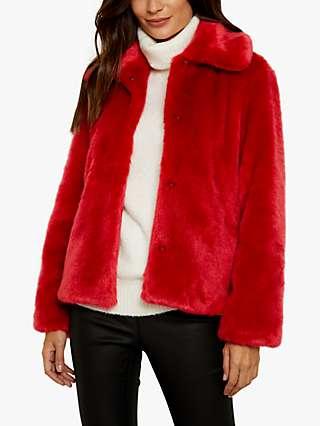 Sosandar Faux Fur Coat, Red