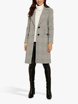 Sosandar Check Coat, Grey/Multi