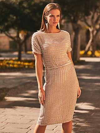 Sosandar Embellished Dress, Champagne