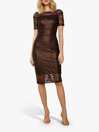 Sosandar Zebra Mesh Bardot Midi Dress, Bronze
