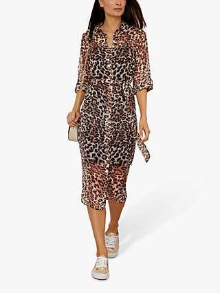 Sosandar Leopard Print Belted Shift Dress, Multi