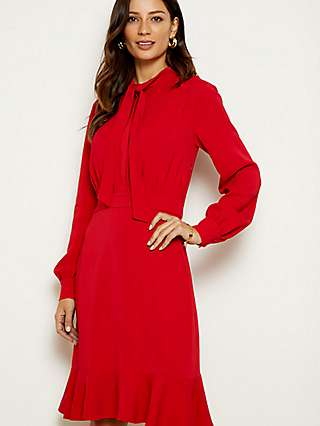 Sosandar Tie Neck Fit And Flare Dress, Red