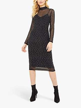 Sosandar Mesh Spot Midi Dress, Black