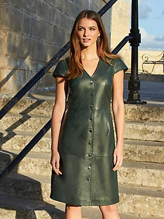 Sosandar Leather Fit And Flare Dress, Dark Green