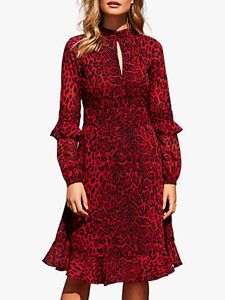 Sosandar Leopard Print Fit And Flare Ruffle Dress, Red