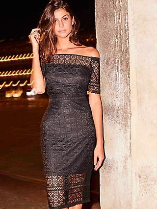 Sosandar Bardot Lace Pencil Dress, Black