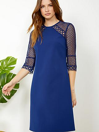 Sosandar Lace Detail Shift Dress, Cobalt