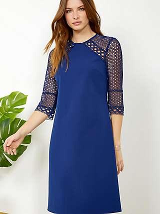 Sosandar Lace Detail Shift Dress, Cobalt