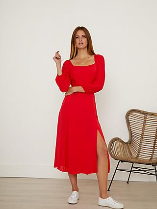 Sosandar Split Detail Dress, Red