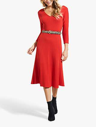 Sosandar Fit And Flare Knit Dress, Red