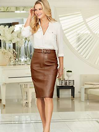 Sosandar Pencil Leather Skirt, Tan