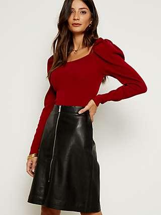 Sosandar Leather Zip Front A-Line Skirt, Black