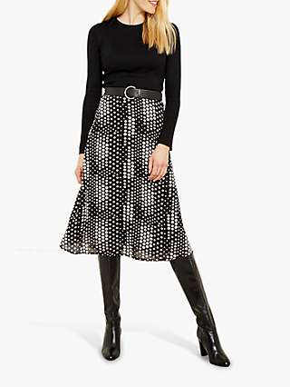 Sosandar Multi Spot Midi Skirt, Black/Cream