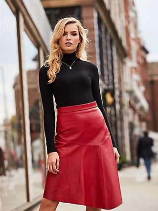 Sosandar A-Line Leather Skirt, Red