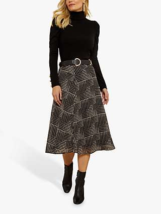 Sosandar Spot Print Midi Skirt, Black/Cream