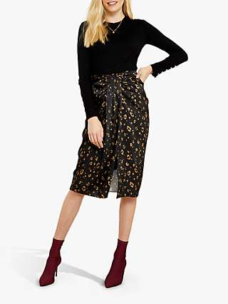 Sosandar Pleat Detail Leopard Print Pencil Skirt, Black/Gold