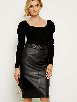 Sosandar Animal Pattern Leather Pencil Skirt, Black